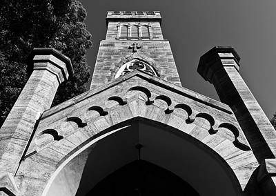 Photograph - Church Facade In Black And White by Lori Coleman