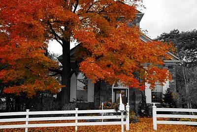 Church In Autumn Art Print by Andrea Kollo