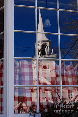 Church In Cafe Window Art Print by Andrea Simon