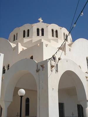Church In Fira On Santorini Greece Art Print by Christopher Mullard