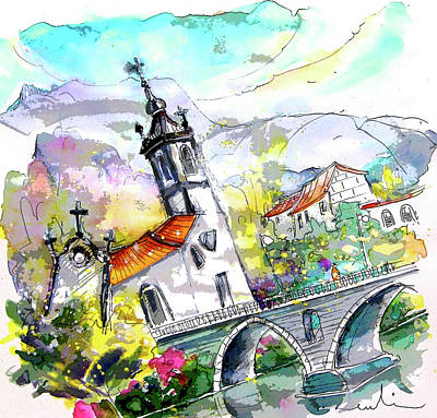 Impressionism Drawings - Church in Ponte de Lima in Portugal by Miki De Goodaboom