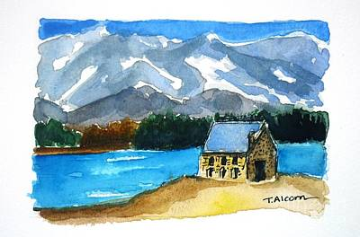 Art Print featuring the painting Church Of The Good Shepherd Lake Tekapo New Zealand by Therese Alcorn