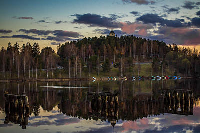 Print featuring the photograph Church On A Hill by Matti Ollikainen