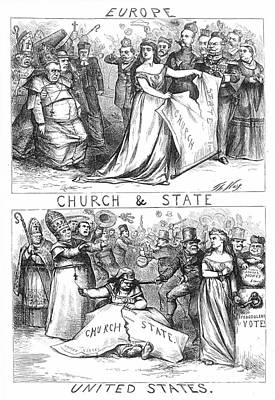 Church/state Cartoon, 1870 Art Print