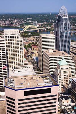 Cincinnati Aerial Skyline Downtown City Buildings Art Print by Paul Velgos