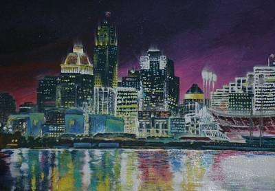 Cincinnati Skyline Painting - Cincinnati Asleep by Michael Brown