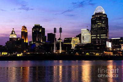 Cincinnati At Night Downtown City Skyline Art Print by Paul Velgos