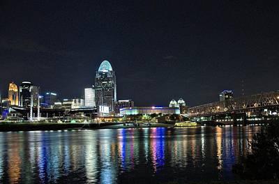 Cincinnati In Lights Art Print by Tina Karle