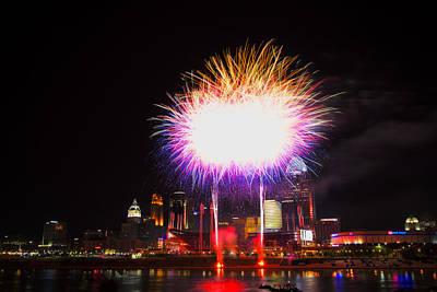 Photograph - Cincinnati Reds Fireworks - Grand Finale by Craig Bowman