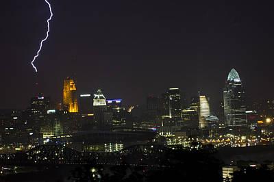 Lightning Photograph - Cincinnati Strike by Ethan  Bryant