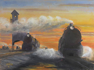 Locomotive Painting - Cinder Town by Christopher Jenkins