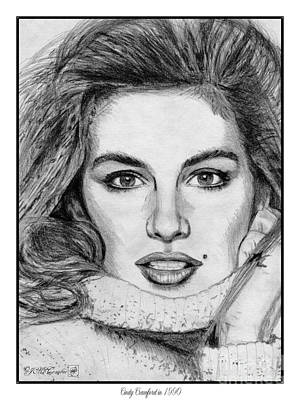 Catwalk Drawing - Cindy Crawford In 1990 by J McCombie