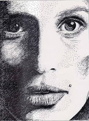 Eyelash Drawing - Cindy Crawford Pen And Ink Portrait by Romy Galicia