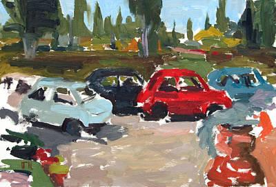 Fiat Car Painting - Cinque Cento Rally Radicofani  by William Noonan