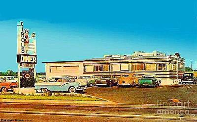 Painting - Circle Diner In Flemington N J In 1950's by Dwight Goss