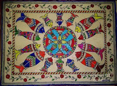 Madhubani Painting - Circle Of Fishes by Aprajita Jha