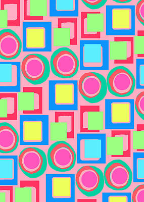 Digital Art - Circles And Squares by Louisa Knight