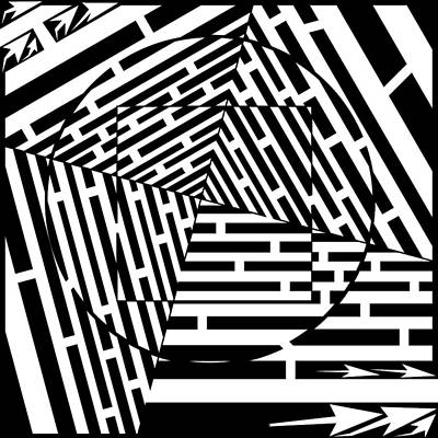 Trippy Maze Art Digital Art - Circles And Squares Optical Illusion Maze by Yonatan Frimer Maze Artist