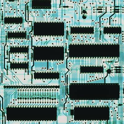 Integrated Photograph - Circuit Board With Microprocessors, Etc. by Pasieka
