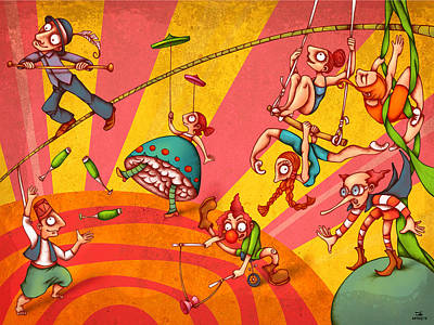 Funny Painting - Circus 3 by Autogiro Illustration