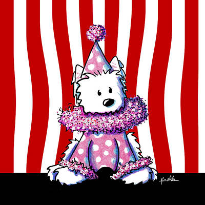 Ebsq Drawing - Circus Clown Westie II by Kim Niles
