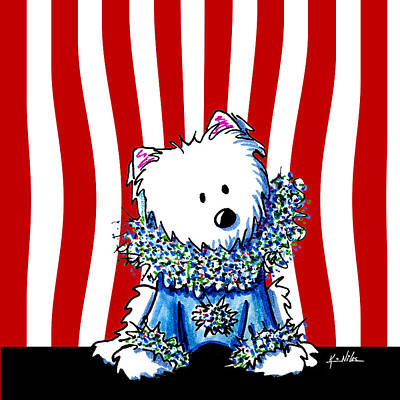 White Terrier Mixed Media - Circus Clown Westie Iv by Kim Niles