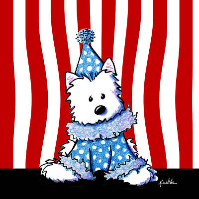 Ebsq Drawing - Circus Clown Westie by Kim Niles