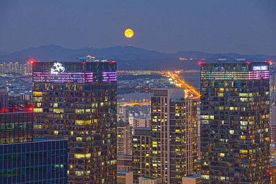 Y120831 Photograph - City And Moon by Tokism