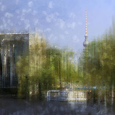 Abstract Sights Digital Art - City-art Berlin River Spree by Melanie Viola