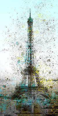 Abstract Digital Digital Art - City-art Paris Eiffel Tower II by Melanie Viola