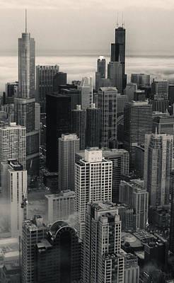 City At Dusk In Monotone Art Print by Sheryl Thomas