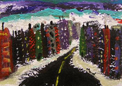 Primitive Raw Art Painting - City Connections by Mary Carol Williams