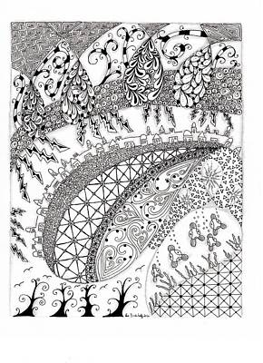 Zendoodle Drawing - City Country And The Sea by Paula Dickerhoff