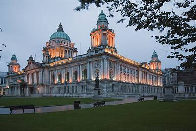City Hall Illuminated Belfast, County Art Print by Peter Zoeller