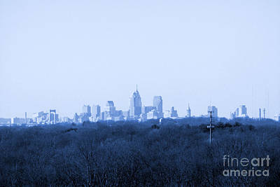 Photograph - City In The Distance Blue Tint by Susan Stevenson