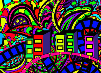 Action Lines Mixed Media - City Life by Karen Elzinga