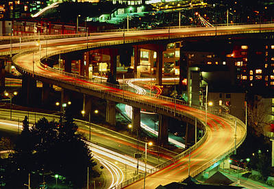 Vancouver At Night Photograph - City Lights And Traffic On Bridge In Vancouver by Kaj R. Svensson