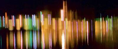 City Lights Over Water Abstract Art Print by Carolyn Repka