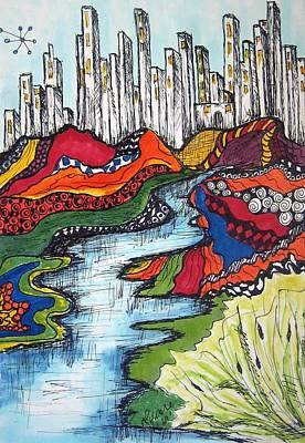 City Meets Nature Art Print by Lynne Howard