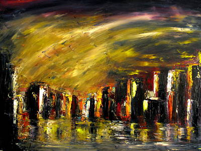 Soleil Couchant Painting - City Night by Marchini Pierre paul