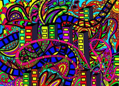 Floral Digital Art Drawing - City Of Life by Karen Elzinga