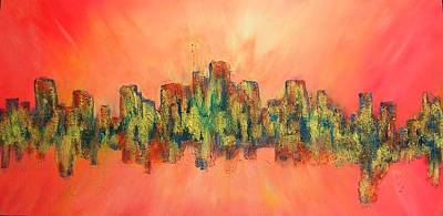 City Of Lights Art Print by Mary Kay Holladay