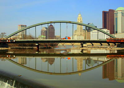 City Reflections Through A Bridge Art Print