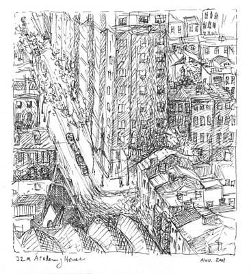 Philadelphia Street Drawing - City Scape by Elizabeth Carrozza