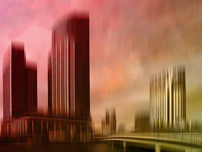 Yellow Bridge Digital Art - City Shapes Melbourne II by Melanie Viola