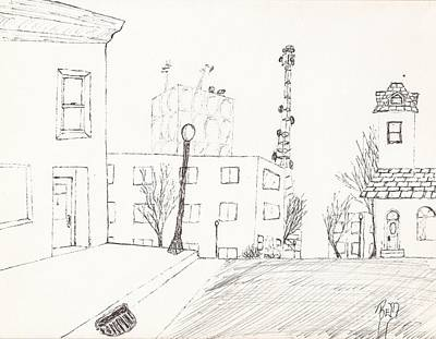 Drawing - City Street - Sketch by Robert Meszaros