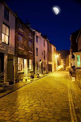 Moonlit Night Photograph - City Street At Night, Staithes by John Short