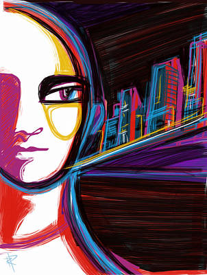 Nighttime Mixed Media - City Woman by Russell Pierce