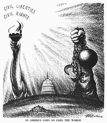 Photograph - Civil Rights Cartoon, 1953 by Granger