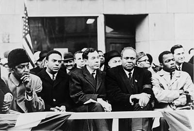 Discrimination Photograph - Civil Rights Leaders In Nyc. L To R by Everett